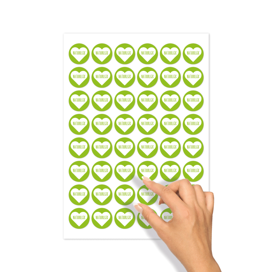 Stickers 'Natuurlijk' hartje stickervel lichtgroen-wit rond 30mm