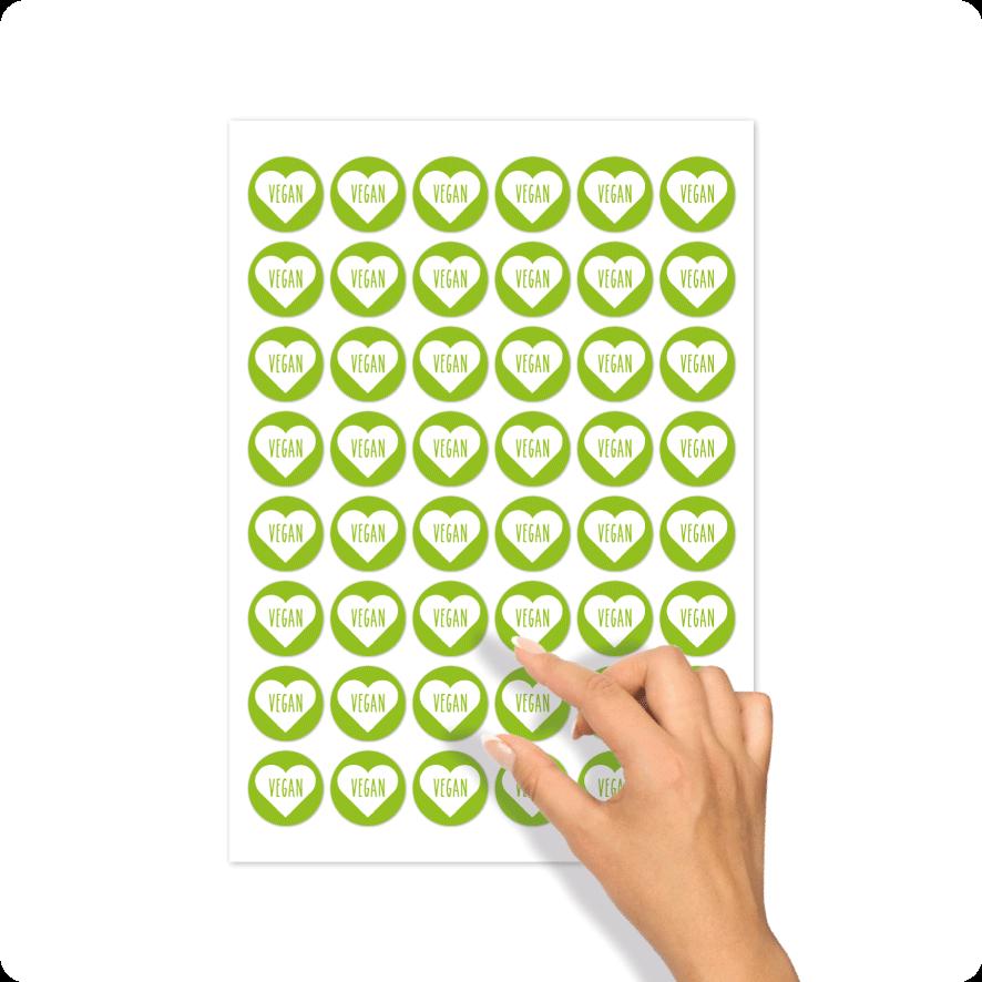 Stickers 'Vegan' hartje stickervel lichtgroen-wit rond 30mm