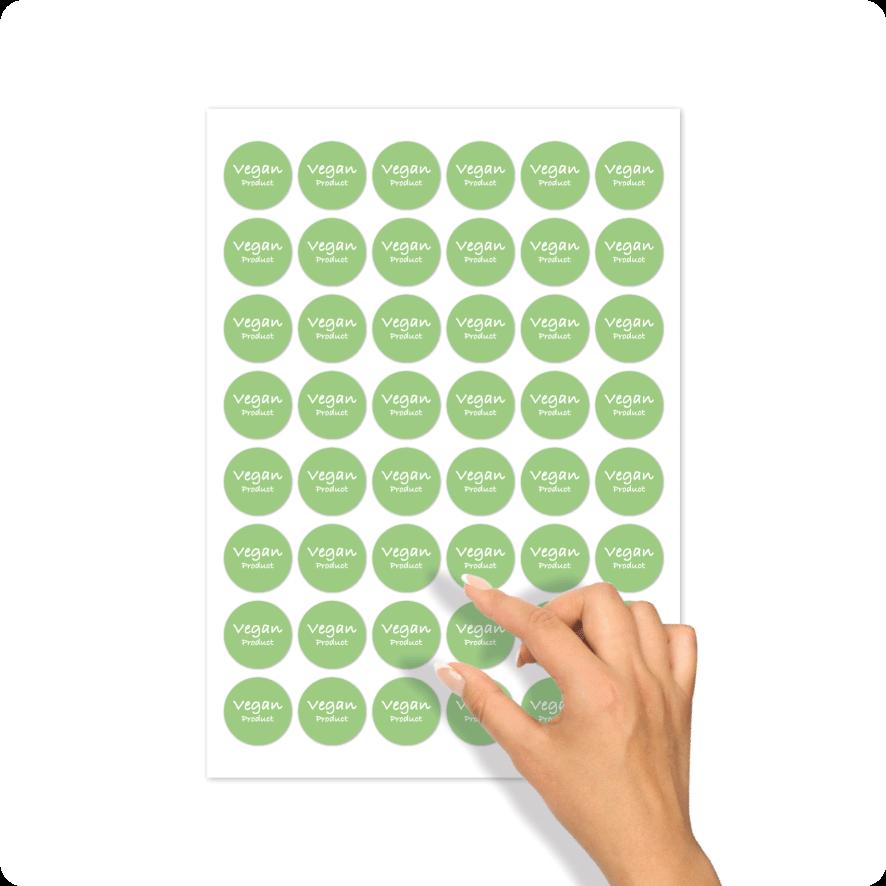 Stickers 'Vegan Product' stickervel lichtgroen-wit rond 30mm
