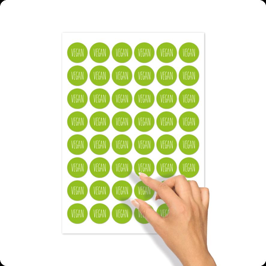 Stickers 'Vegan' stickervel lichtgroen-wit rond 30mm