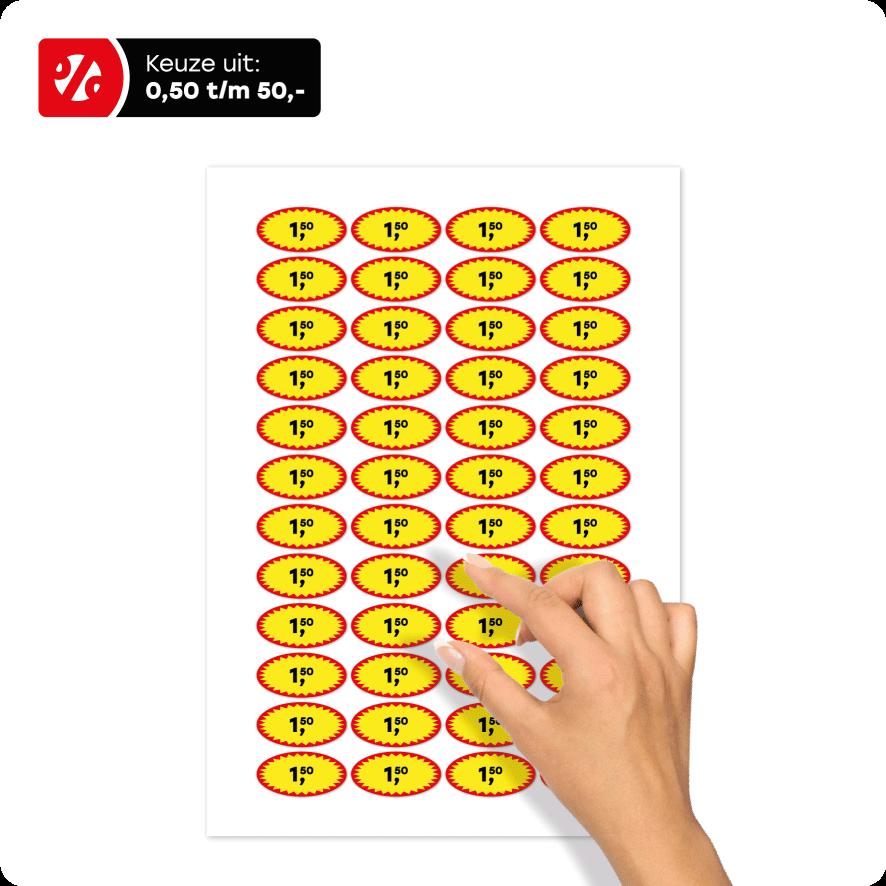 Stickervel actie prijsstickers rood-geel-zwart ovaal 40x20mm