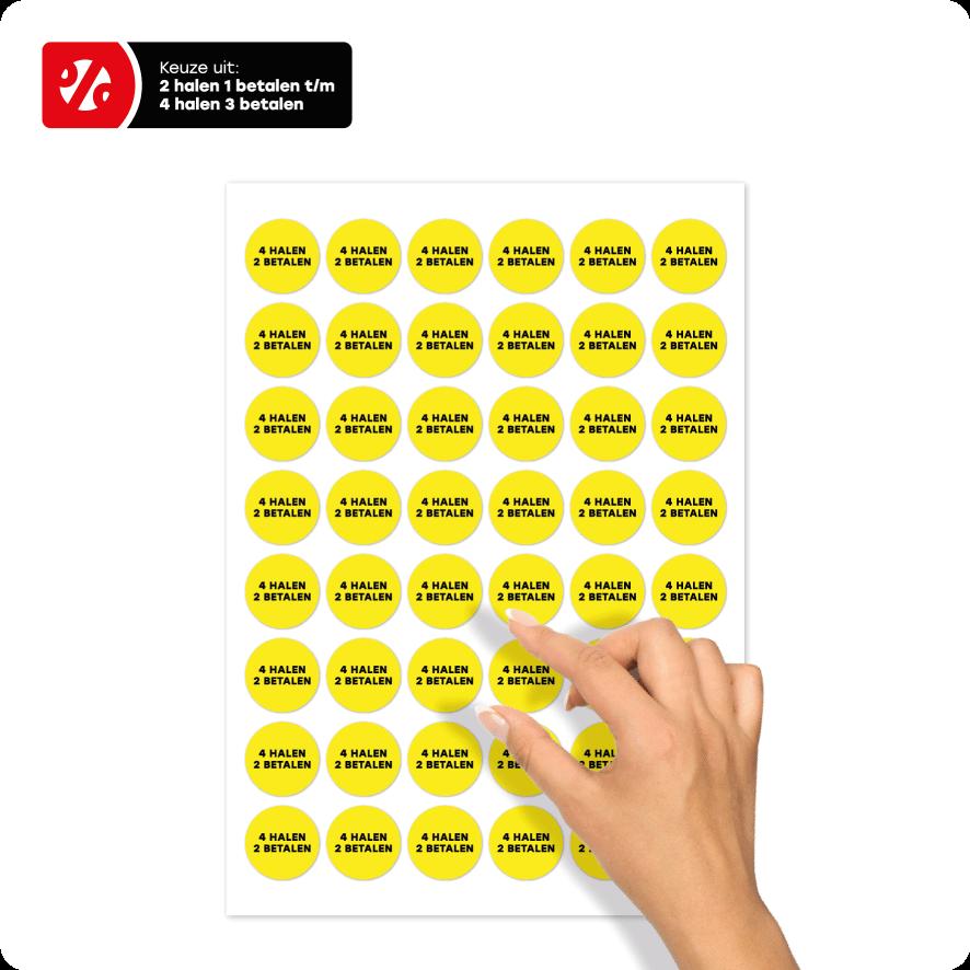 Stickervel 'Halen/Betalen' stickers geel-zwart rond 30mm