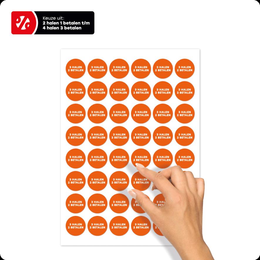 Stickervel 'Halen/Betalen' stickers oranje-wit rond 30mm