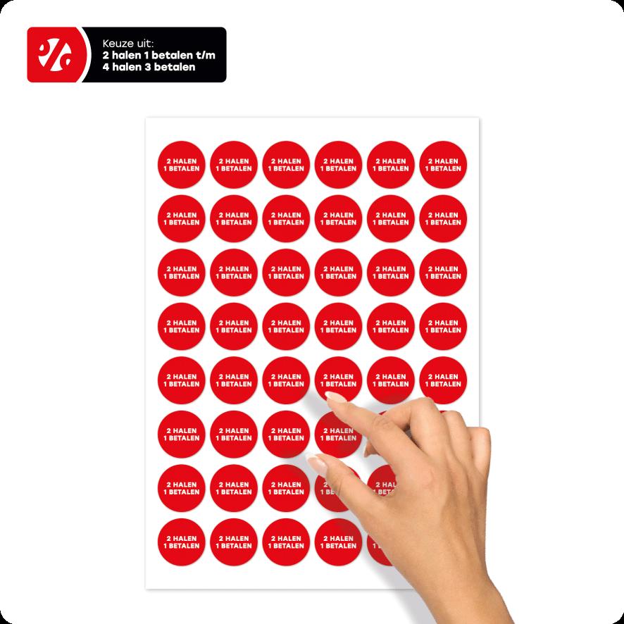 Stickervel 'Halen/Betalen' stickers rood-wit rond 30mm
