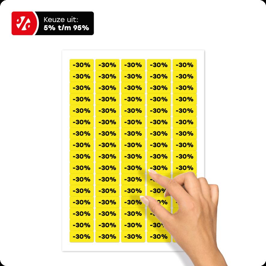 Stickervel kortingsstickers geel-zwart rechthoek 36x17mm