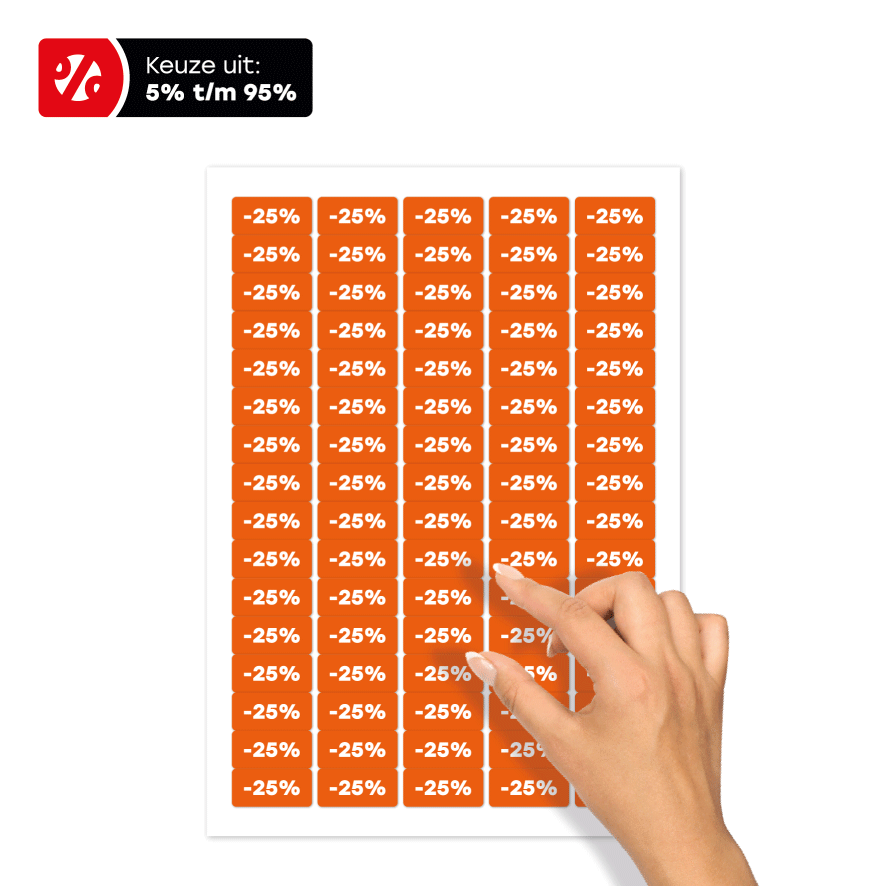 Stickervel kortingsstickers oranje-wit rechthoek 36x17mm