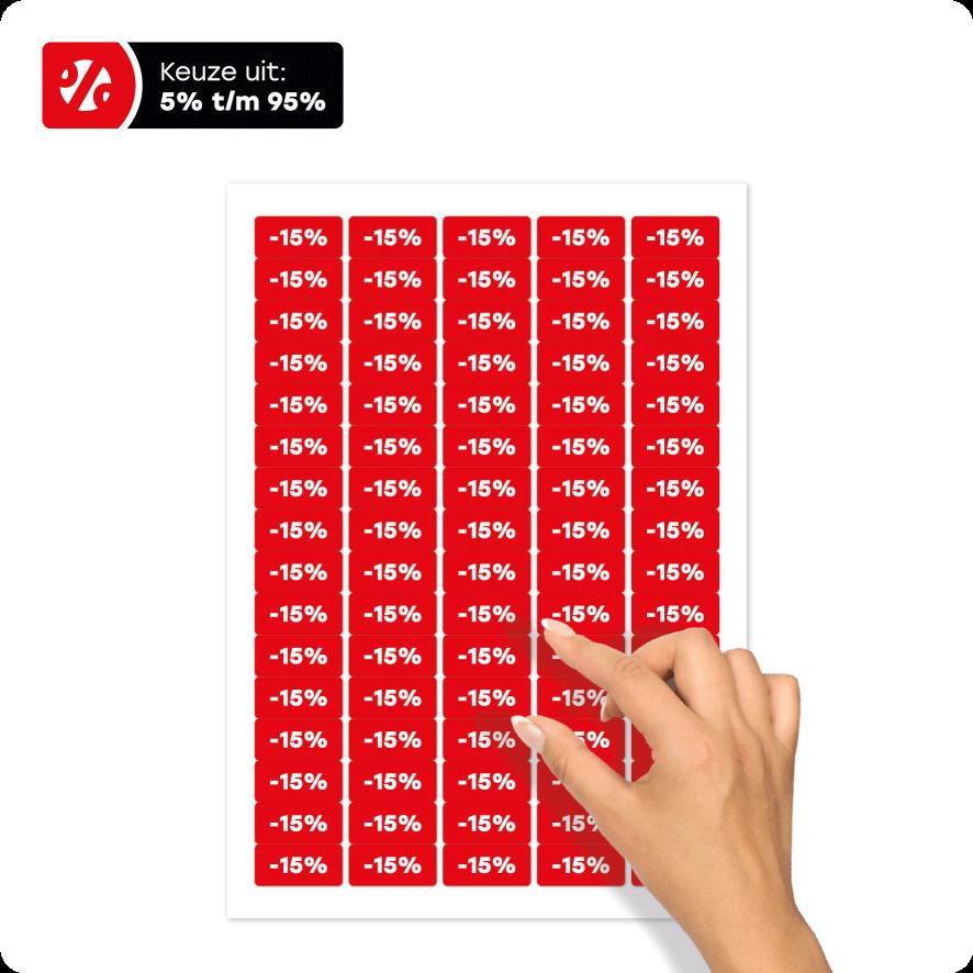 Stickervel kortingsstickers rood-wit rechthoek 36x17mm