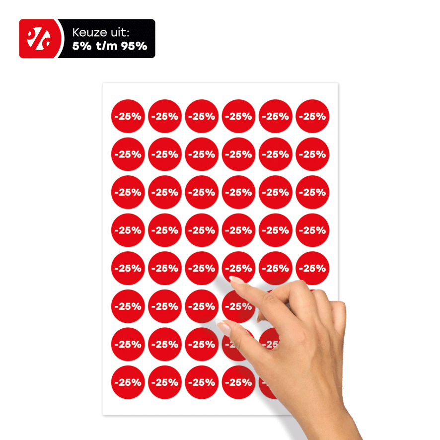 Stickervel kortingsstickers rood-wit rond 30mm