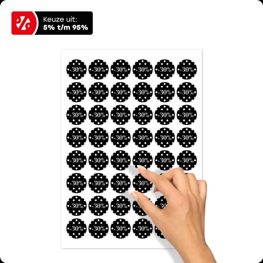 Stickervel kortingsstickers ruiten zwart-wit rond 30mm