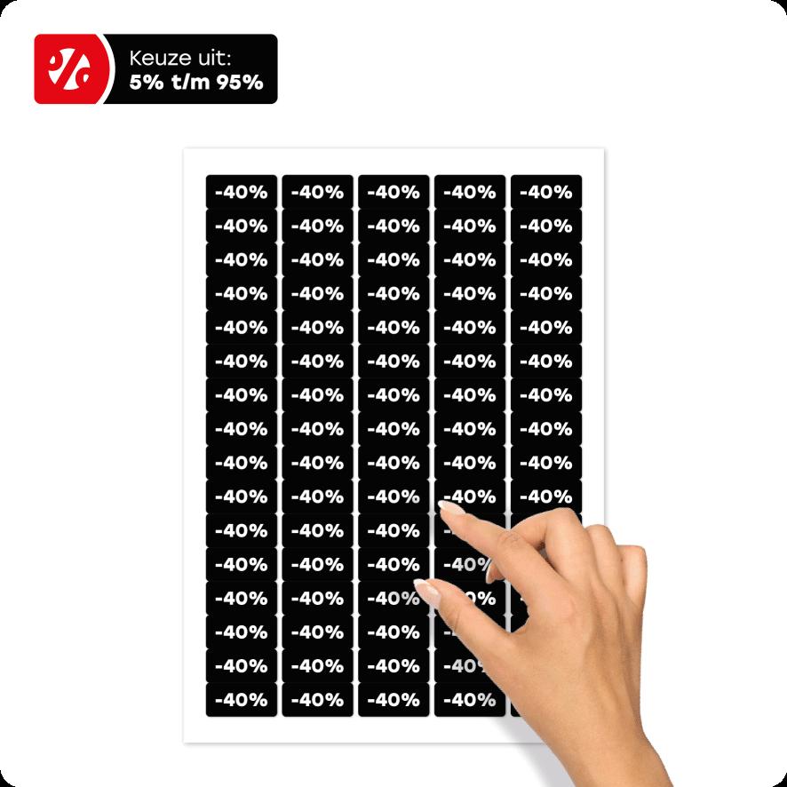Stickervel kortingsstickers zwart-wit rechthoek 36x17mm