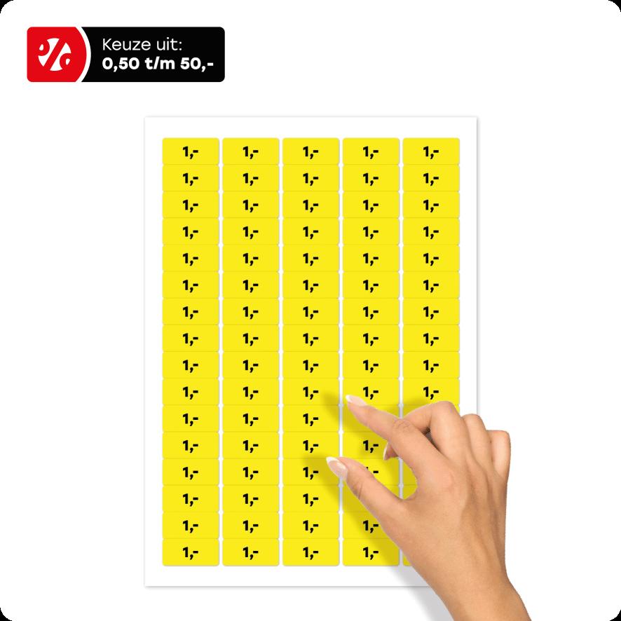 Stickervel prijsstickers geel-zwart rechthoek 36x17mm