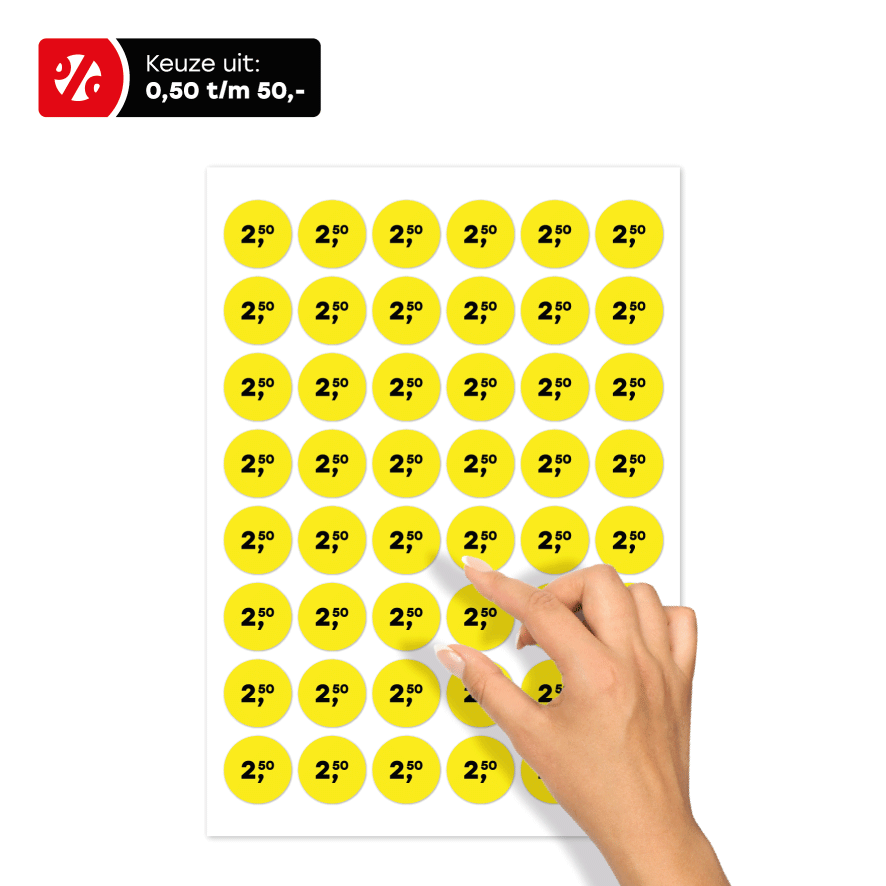 Stickervel prijsstickers geel-zwart rond 30mm