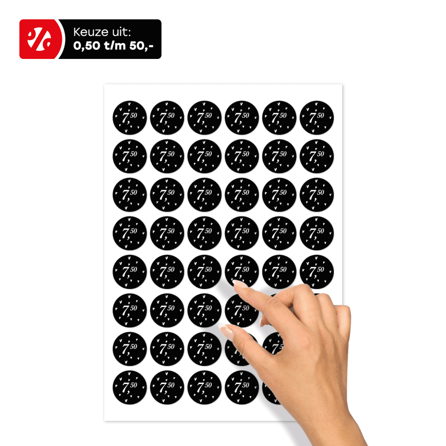 Stickervel prijsstickers hartjes zwart-wit rond 30mm