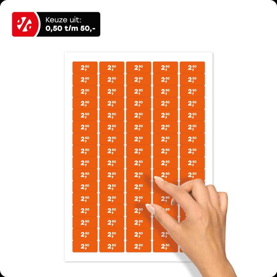 Stickervel prijsstickers oranje-wit rechthoek 36x17mm