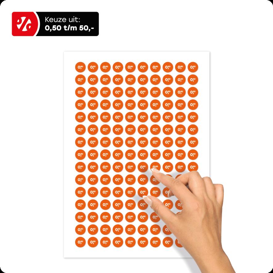 Stickervel prijsstickers oranje-wit rond 15mm