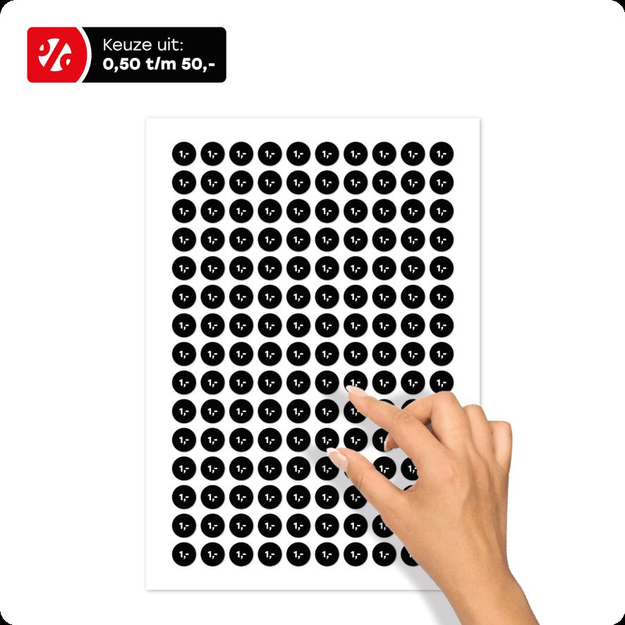Stickervel prijsstickers zwart-wit rond 15mm