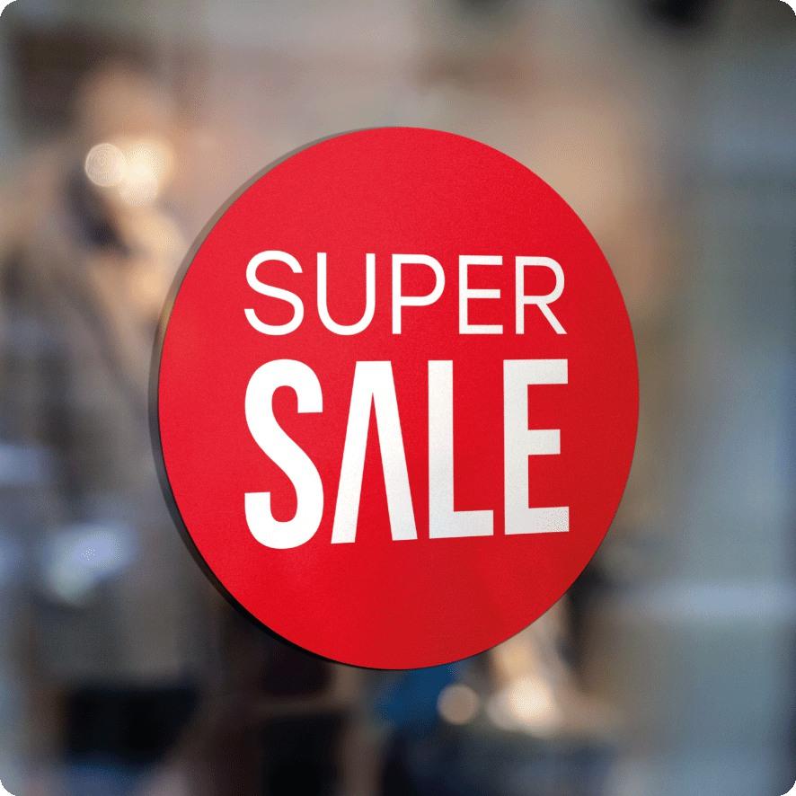 Voorbeeld 'Super Sale' raamsticker