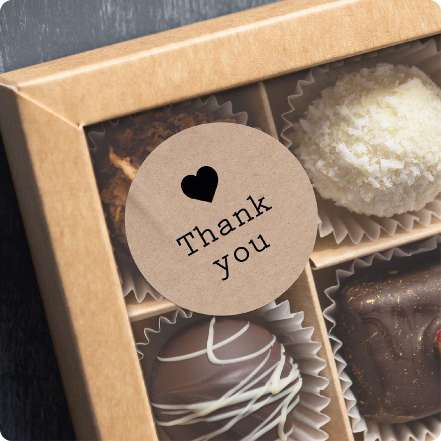 Voorbeeld thank you sticker karton-zwart chocolade doos