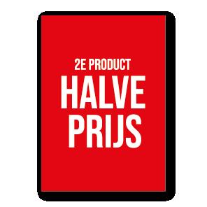 2e product halve prijs poster rood-wit
