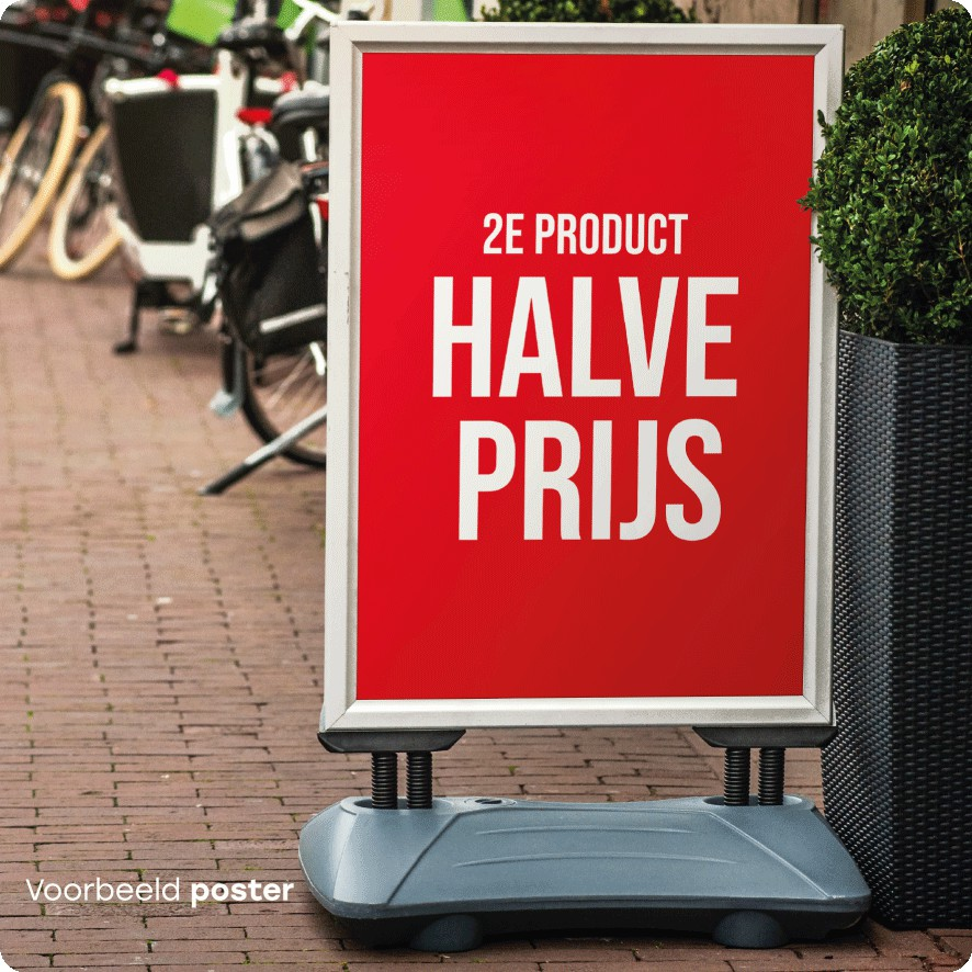 2e product halve prijs poster stoepbord