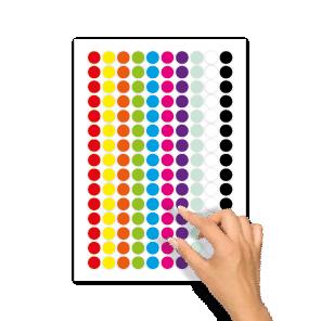 Blanco stickers rood, geel, oranje, groen, blauw, magenta, paars, mint, wit, zwart rond 15mm