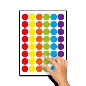 Blanco stickers rood, geel, oranje, groen, blauw, paars rond 30mm