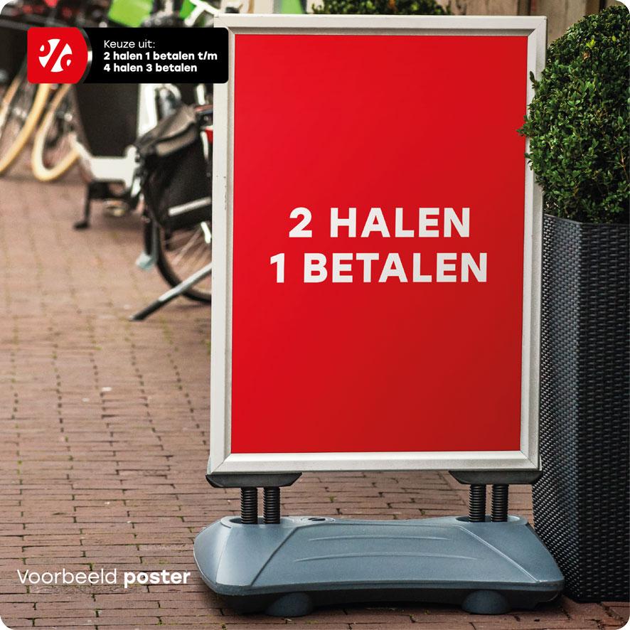 Halen/Betalen poster stoepbord
