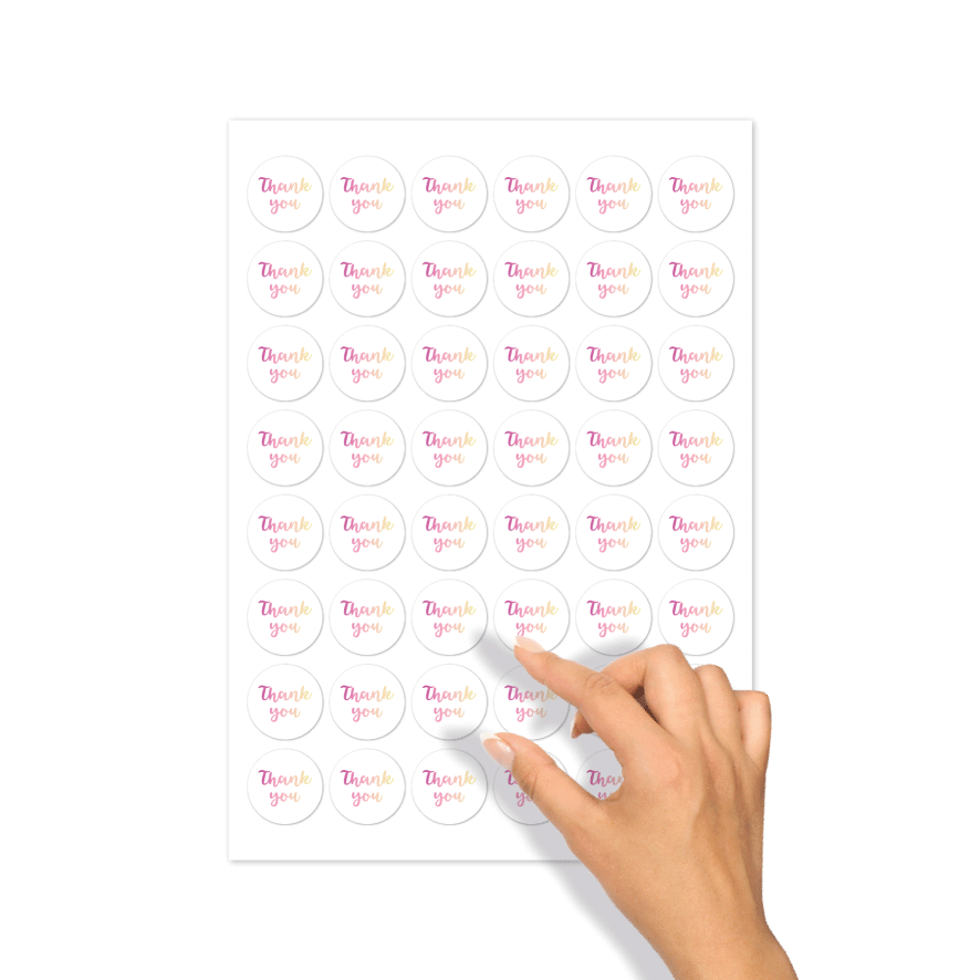 Stickervel thank you stickers wit-donkerpaars-lichtgeel rond 30mm