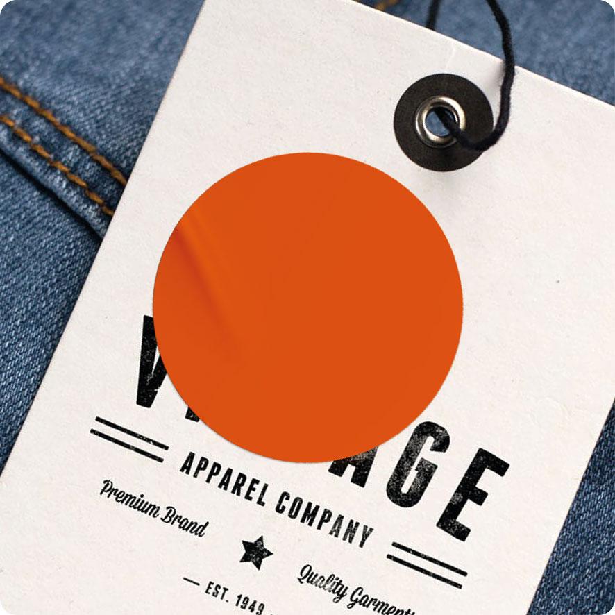Blanco sticker oranje rond 30mm hangtag