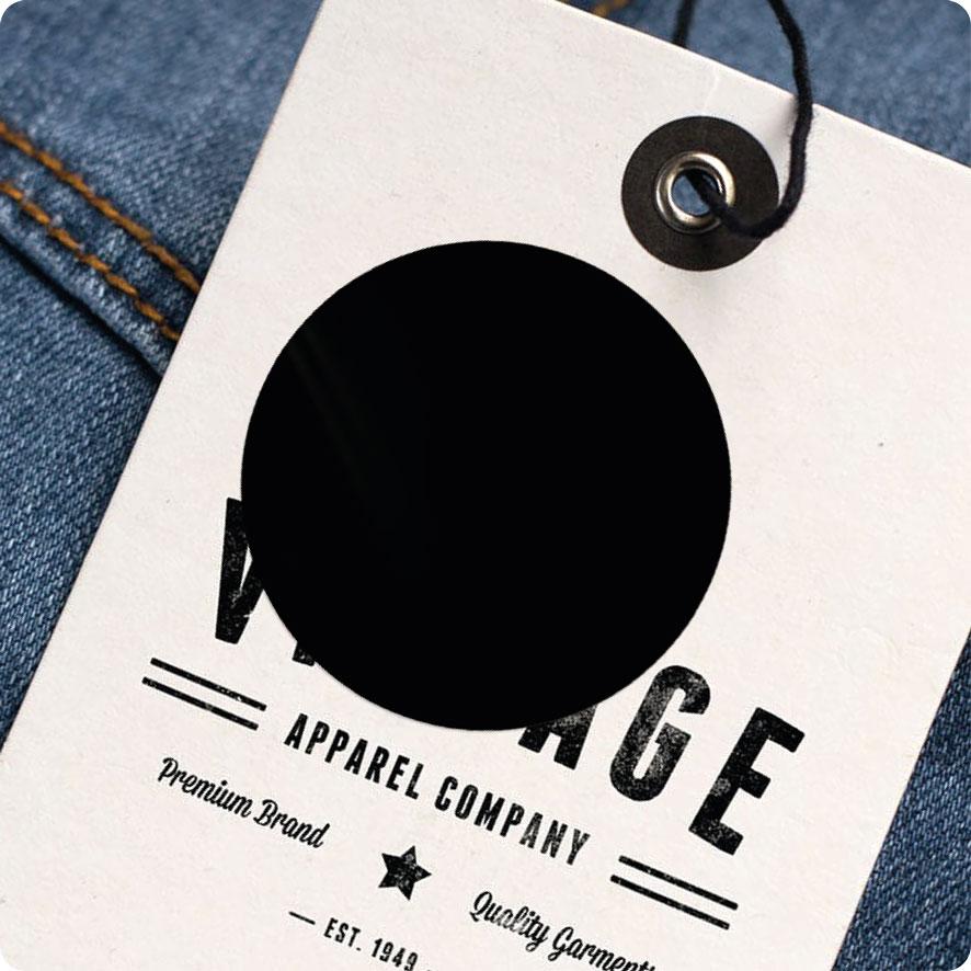 Blanco sticker zwart rond 30mm hangtag
