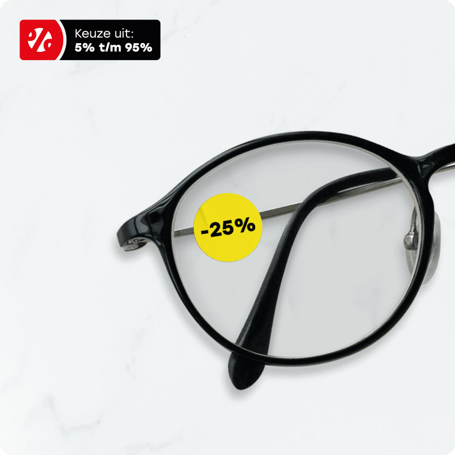 Bril kortingssticker geel rond 15mm brillenglas