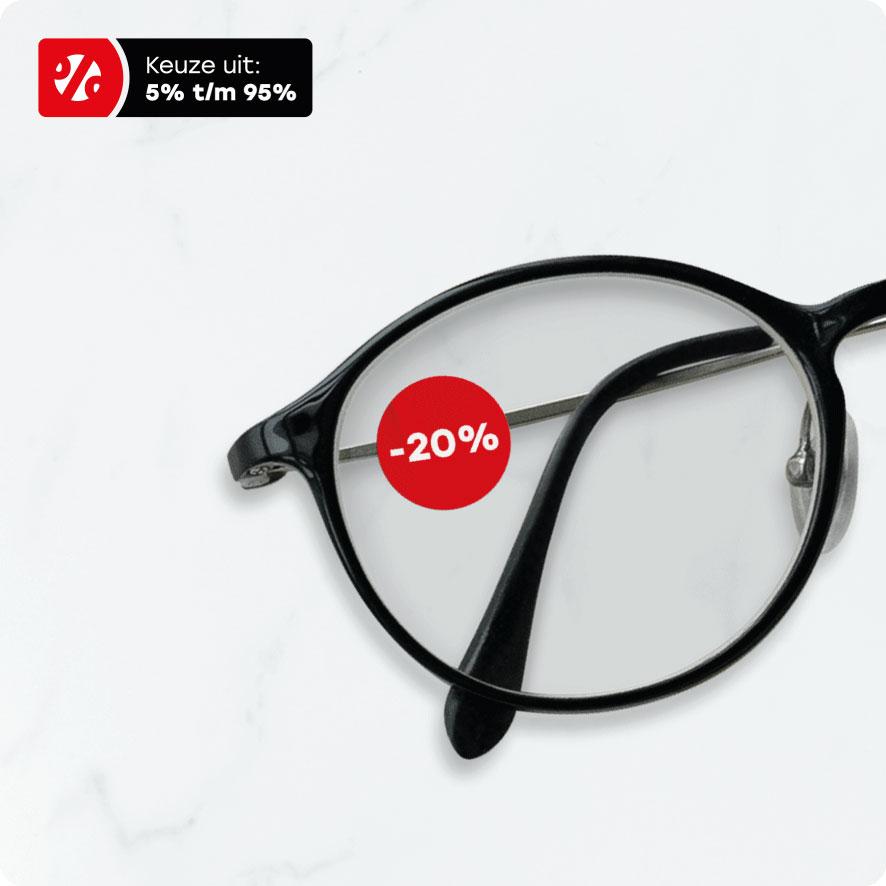 Bril kortingssticker rood rond 15mm brillenglas