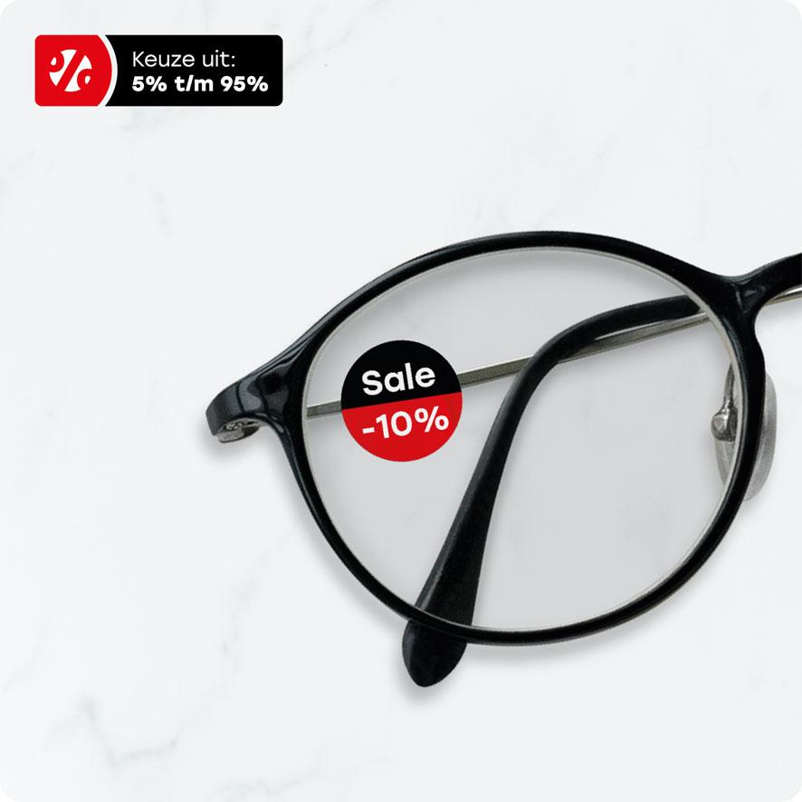 Bril kortingssticker 'Sale' rood rond 15mm brillenglas