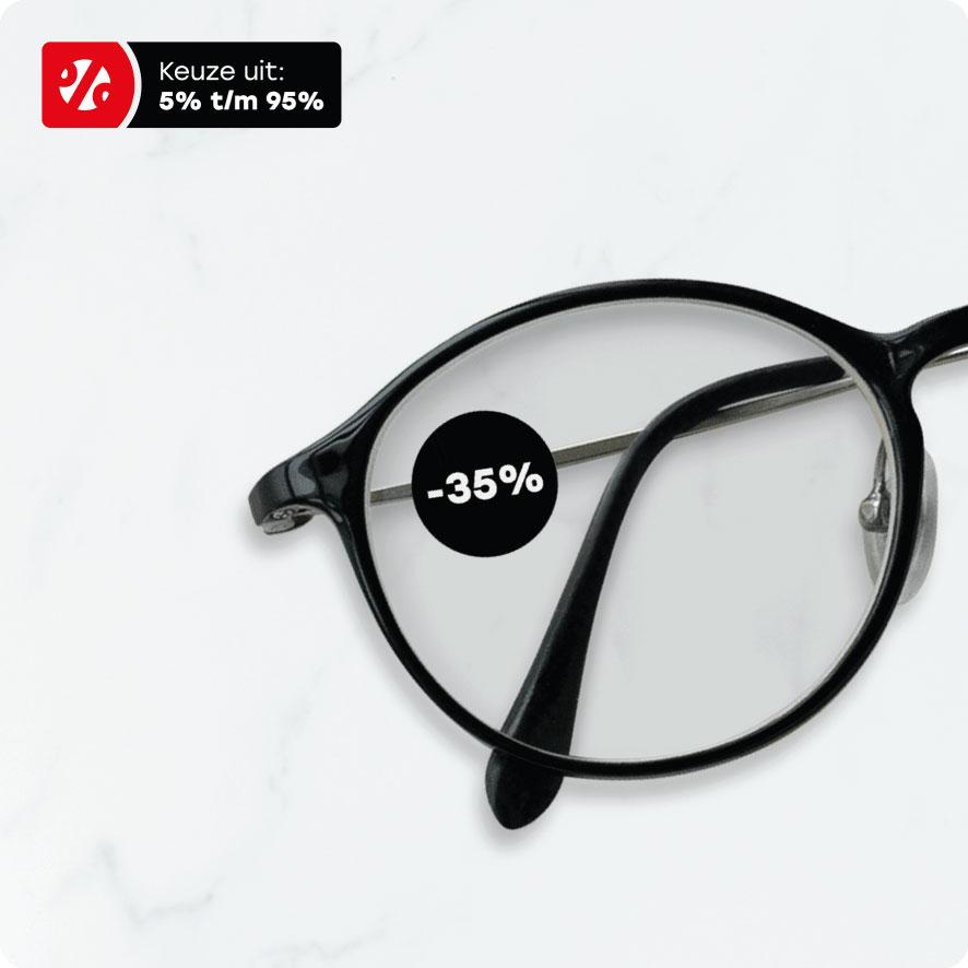 Bril kortingssticker zwart rond 15mm brillenglas
