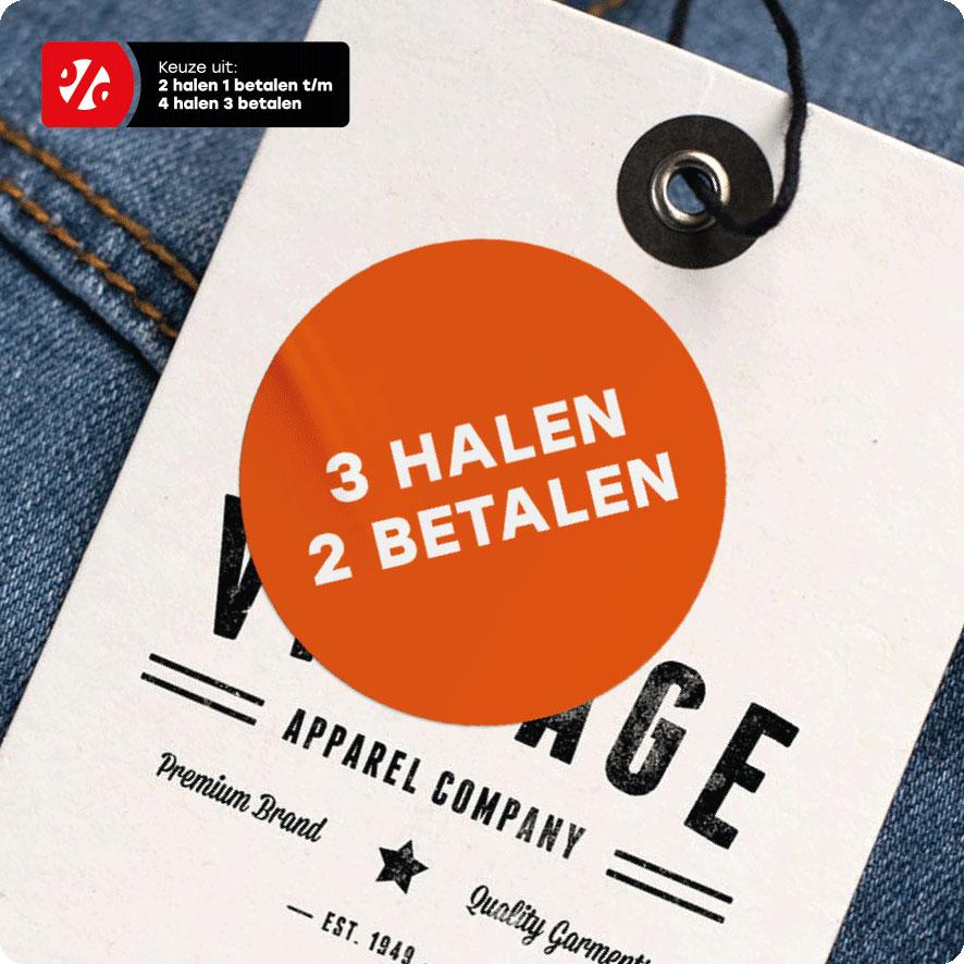 Halen/Betalen sticker oranje rond 30mm hangtag