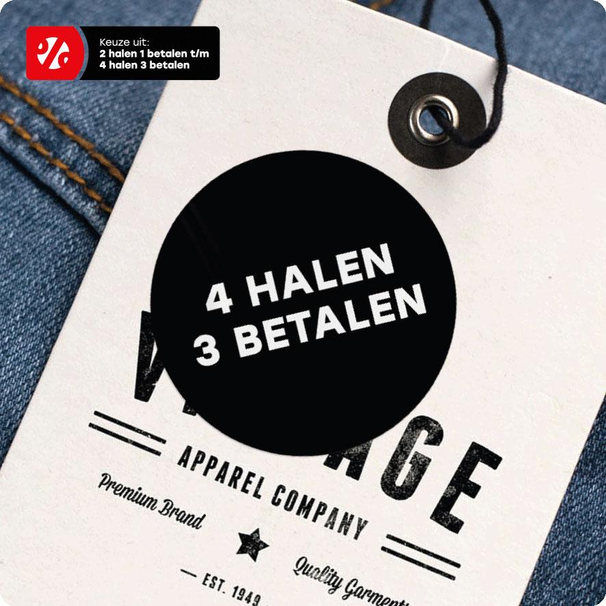 Halen/Betalen sticker zwart rond 30mm hangtag