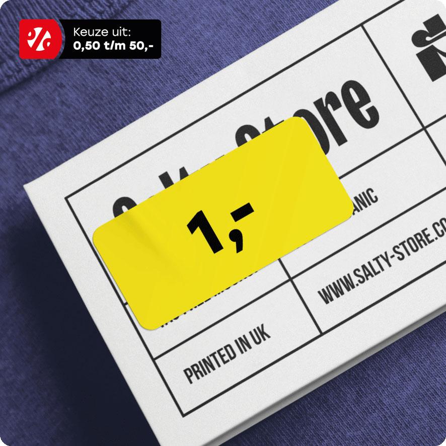 Prijssticker geel rechthoek 36x17mm hangtag