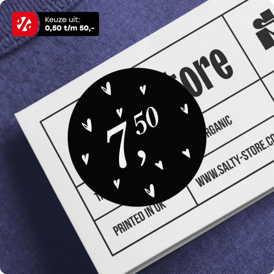 Prijssticker hartjes zwart rond 30mm hangtag