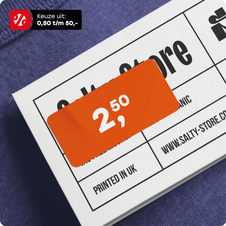Prijssticker oranje rechthoek 36x17mm hangtag