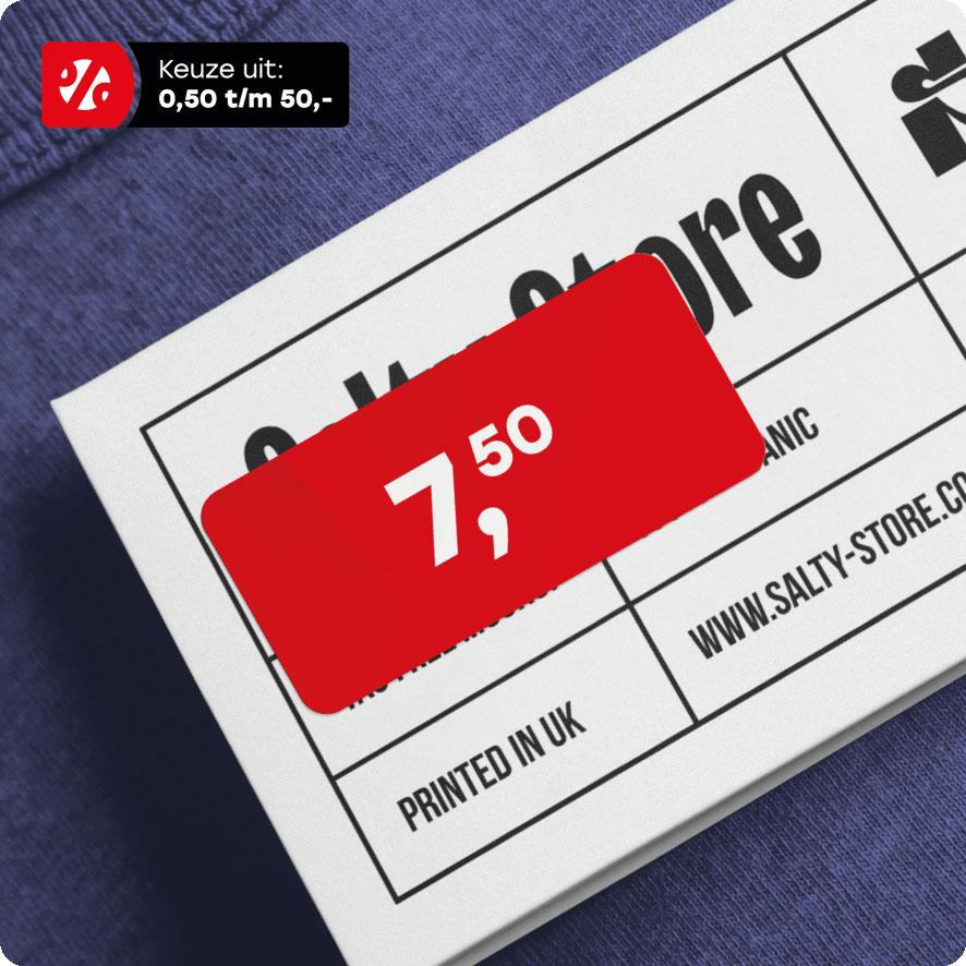 Prijssticker rood rechthoek 36x17mm hangtag