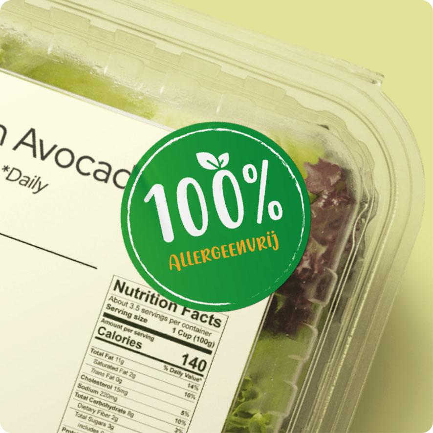 Sticker '100% Allergeenvrij' donkergroen rond 30mm salade verpakking