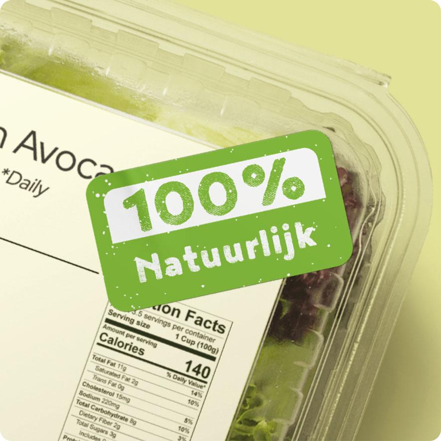 Sticker '100% Natuurlijk' lichtgroen rond 30mm salade verpakking