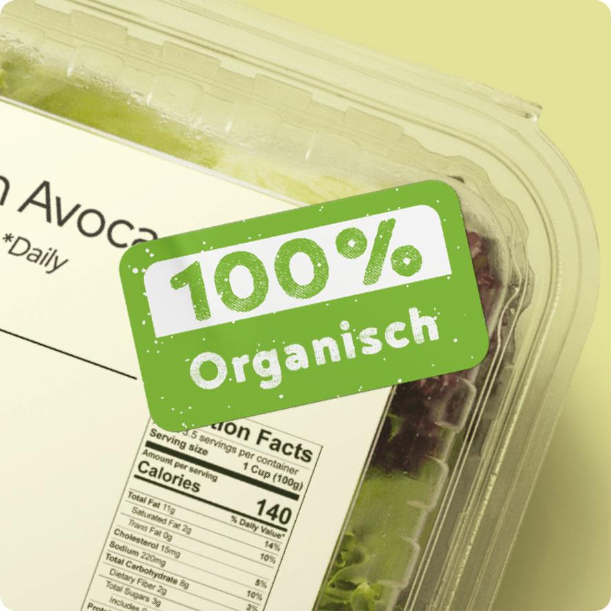 Sticker '100% Organisch' lichtgroen rond 30mm salade verpakking