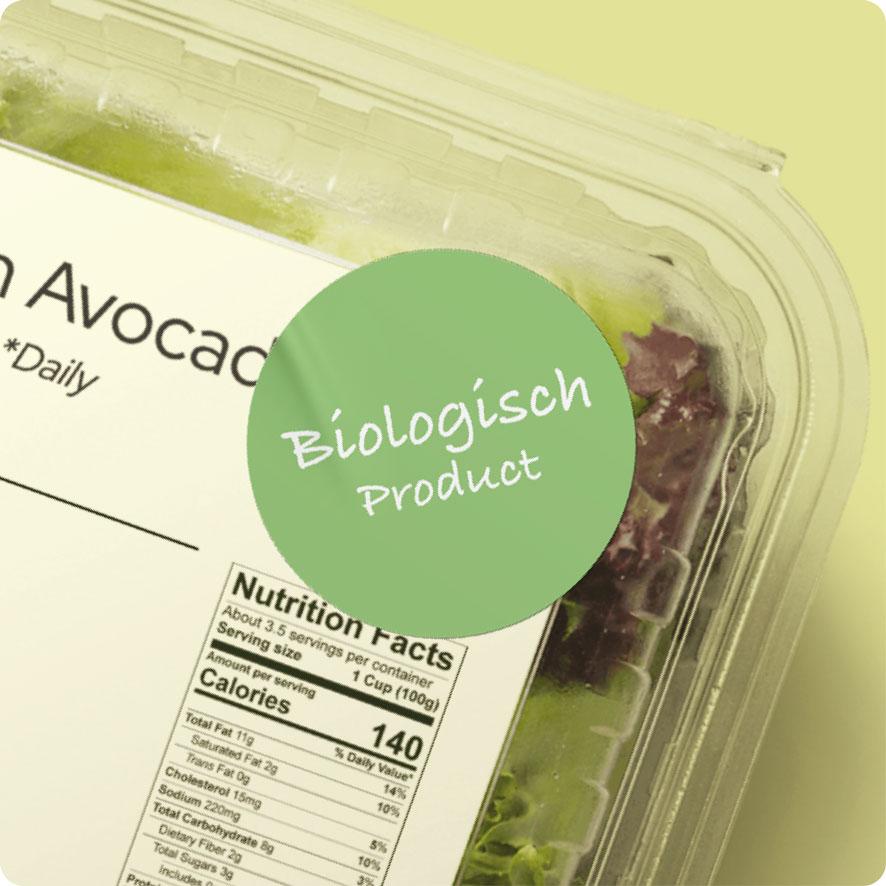 Sticker 'Biologisch Product' lichtgroen rond 30mm salade verpakking