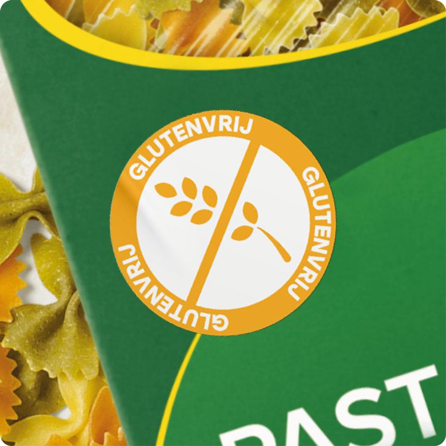Sticker glutenvrij lichtoranje rond 30mm pasta verpakking