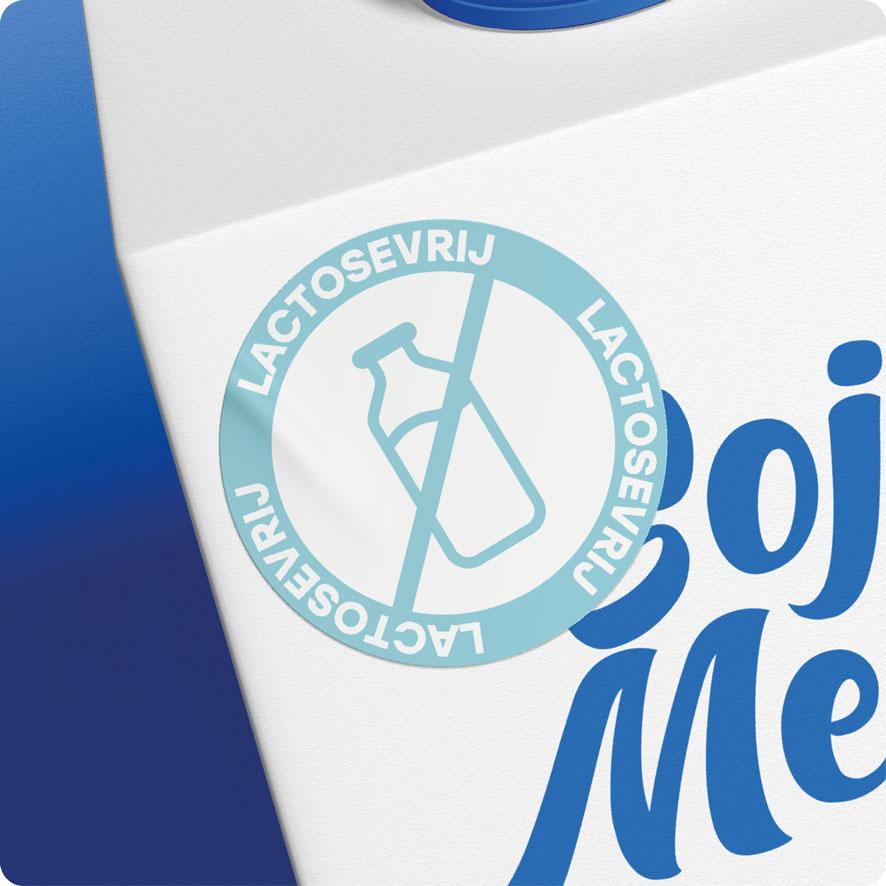 Sticker lactosevrij lichtblauw rond 30mm pak melk