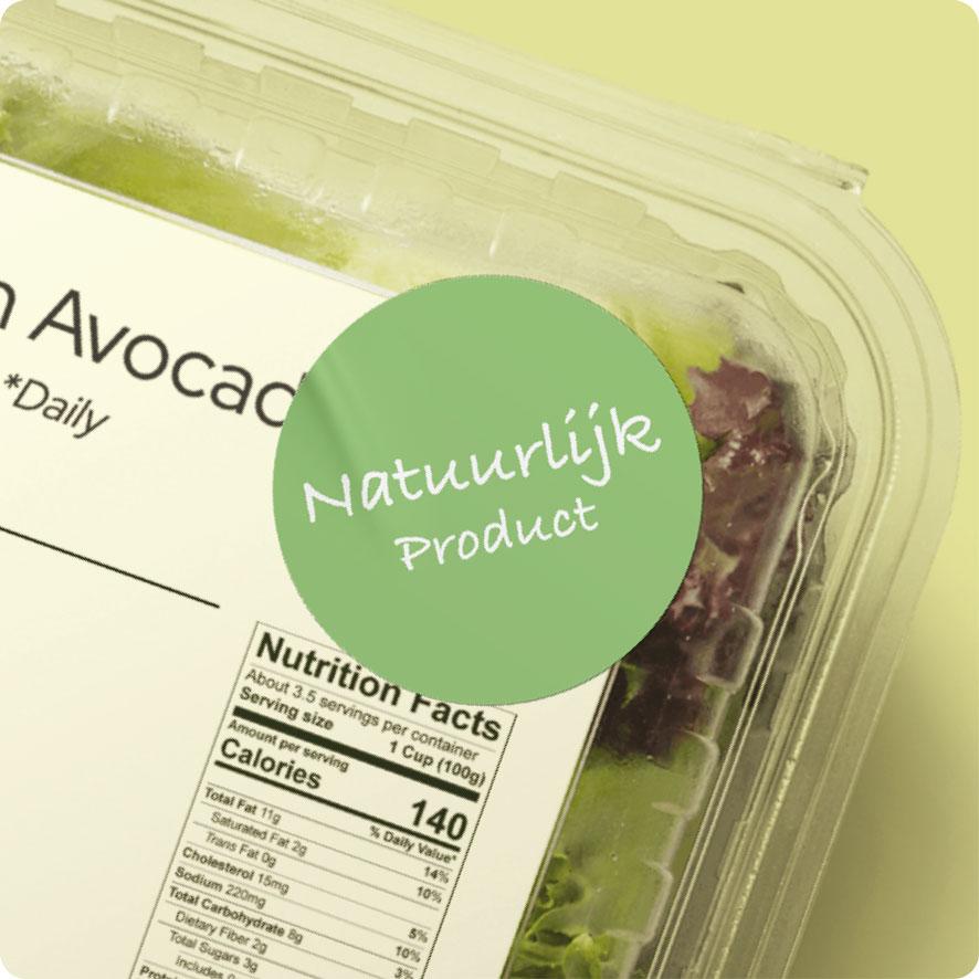 Sticker 'Natuurlijk Product' lichtgroen rond 30mm salade verpakking