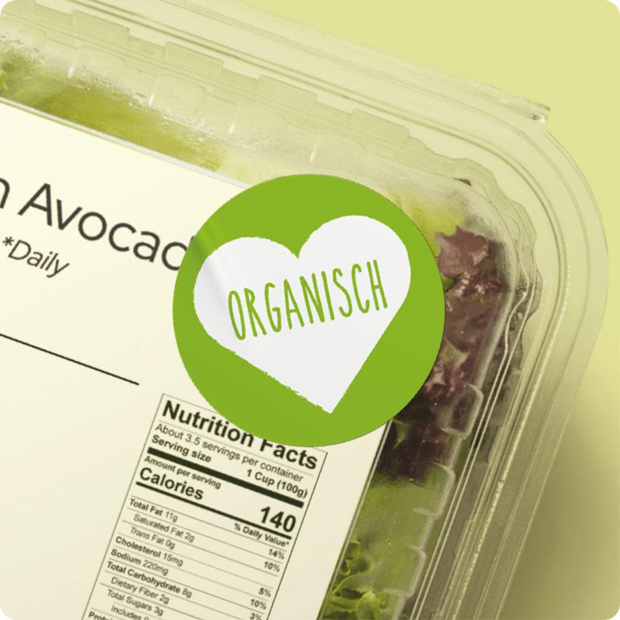 Sticker 'Organisch' hartje lichtgroen rond 30mm salade verpakking