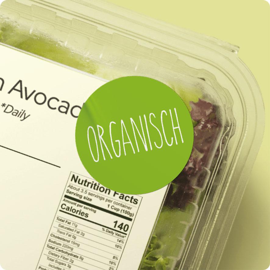 Sticker 'Organisch' lichtgroen rond 30mm salade verpakking