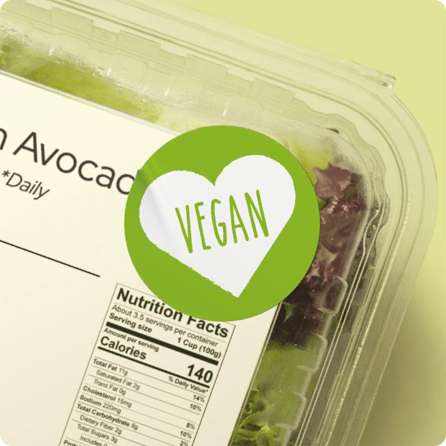 Sticker 'Vegan' hartje lichtgroen rond 30mm salade verpakking
